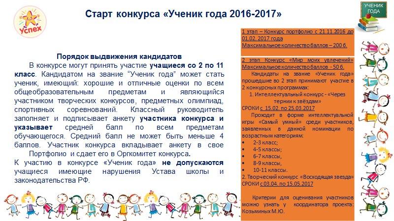 Анкета для конкурса ученик года